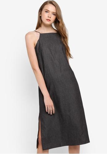 Something Borrowed black Chambray Cut In Midi Dress 079A0AA9A4C552GS_1