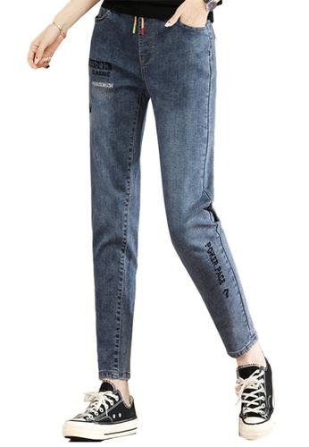 A-IN GIRLS blue Elastic Waist All-Match Jeans 71D8BAA0D17EA3GS_1