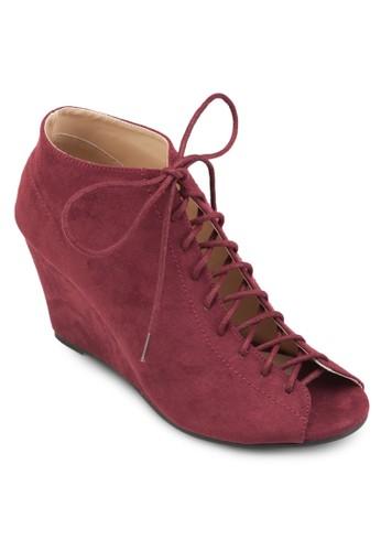 繫帶露趾楔型跟踝靴、 女鞋、 魚口楔形鞋ZALORA繫帶露趾楔型跟踝靴最新折價