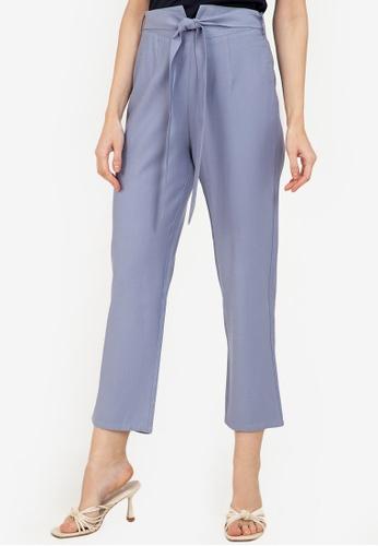 ZALORA WORK blue Notch Detail Pants 4BCA2AA0D780F7GS_1