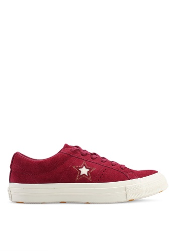 Converse red One Star Love In The Details Ox Sneakers 3DB05SH22DB95AGS_1