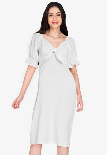 DEITY white Puff Sleeve Bow Midi Dress C8285AAF31578DGS_1