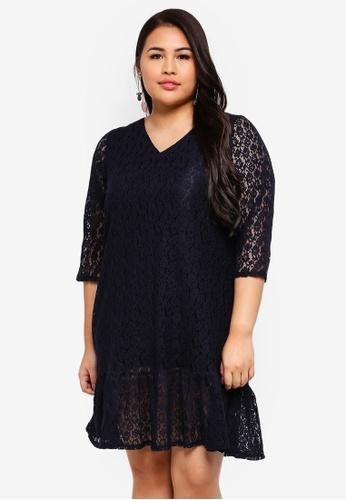 Ex'otico navy Plus Size 3/4 Sleeve Lace Dress D9E2CAA3524AF3GS_1