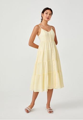 Love, Bonito yellow Bellanne Textured Tier Midi Dress F0DAAAA85B06E2GS_1