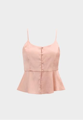 Pomelo pink Peplum Button Up Cami - Pink F0318AA6EC0CF4GS_1