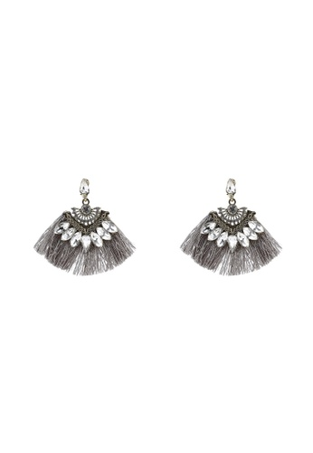 Red's Revenge grey Vintage Fringe Clear Gem Statement Earrings B57A0AC5674AD3GS_1
