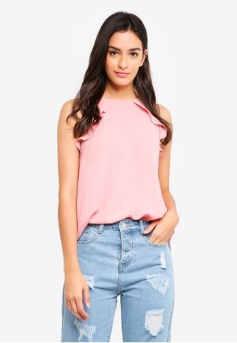 ZALORA BASICS pink Halterneck Ruffle Sleeve Top 461B8AA35E2FC7GS_1