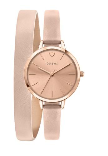 Oui & Me beige Petite Amourette Quartz Watch Nude Leather Strap ME010092 7B35BAC3774DE7GS_1