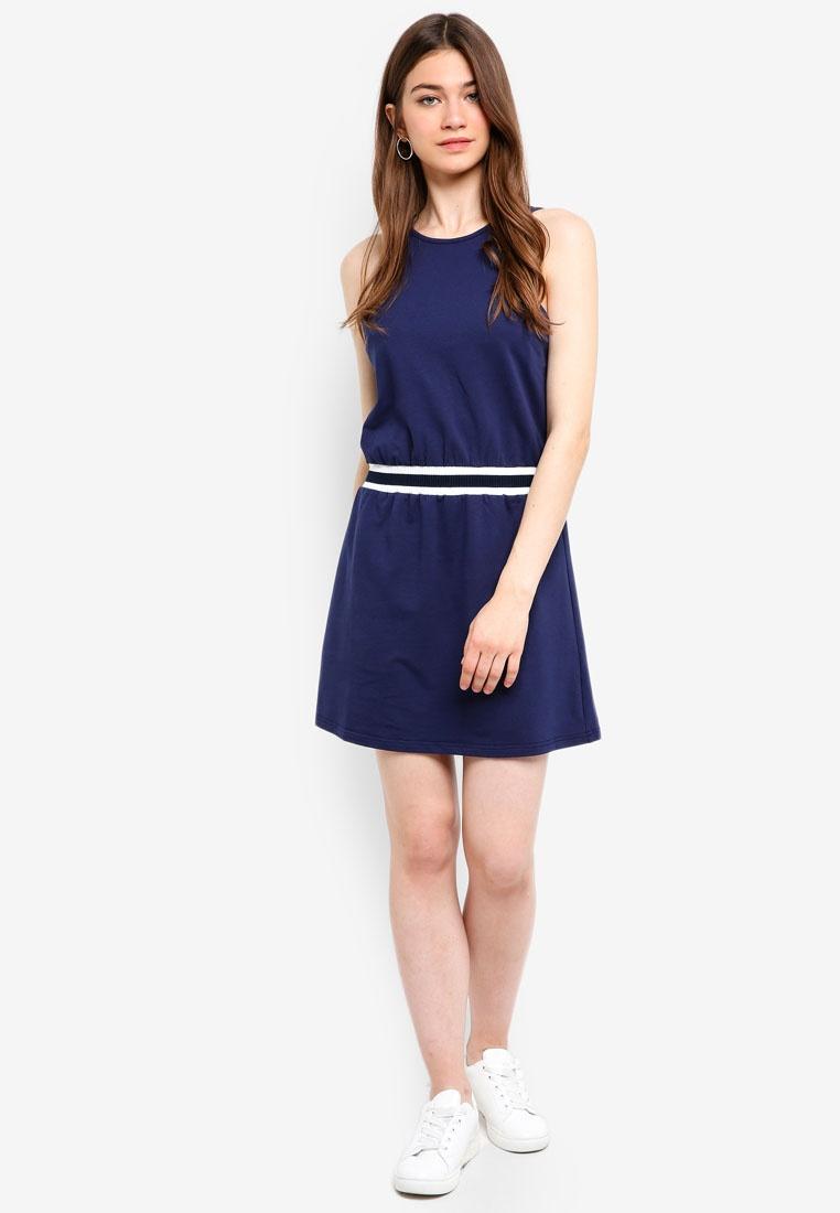 Dress Navy Borrowed Stripe Rib In Something Cut xwatq06