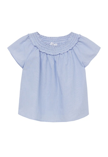 MANGO KIDS blue Ruched Striped Blouse 3AB77KAB6983B0GS_1