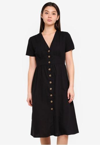 Cotton On black Woven Gigi Button Through Midi Dress 93510AA1D5CD62GS_1