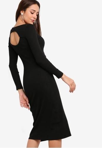 ZALORA black Cut Out Midi Knit Dress 4529AAAE04E4D5GS_1