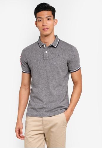 Superdry grey Classic Super Tri Clr Short Sleeve Polo Shirt 84087AA79D528FGS_1