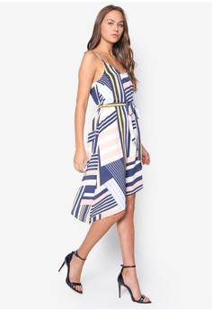 Stripe Asymmetric Slip Dress