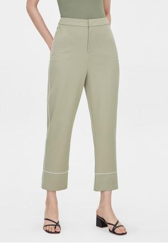 Pomelo green Basic Trim Pencil Pants - Green 081A5AADD7AC4AGS_1