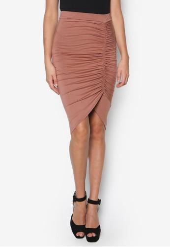 抓褶esprit 鞋不對稱及膝短裙, 服飾, 裙子