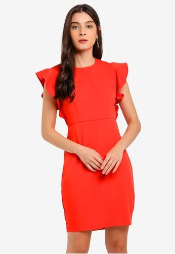 ZALORA orange Ruffles Sleeves Semi Formal Dress D0176AAC970678GS_1