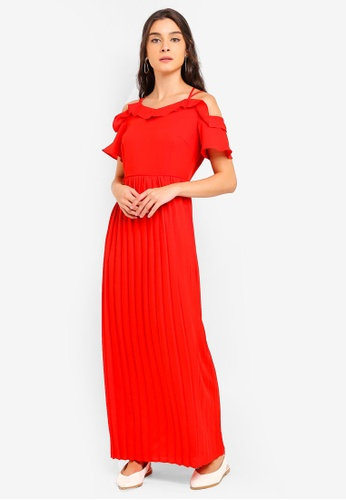 ZALORA orange Cold Shoulder Pleated Dress 0F9CFAAD539632GS_1