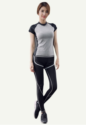 B-Code blue ZYG5156-Lady Quick Drying Running Fitness Yoga Sports Top and Leggings Two Pieces Set-Blue DF573AA017D012GS_1