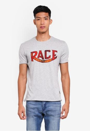 Sisley 灰色 不收邊標語短袖T恤 B8353AA06AB3EAGS_1