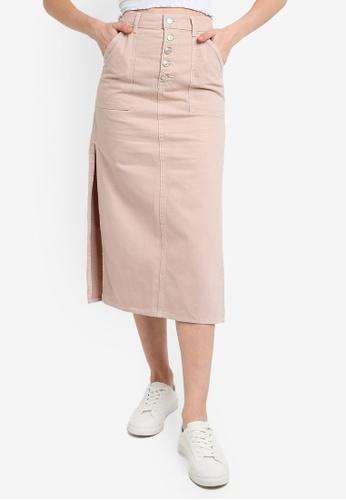 TOPSHOP pink Mink Denim Button Through Mini Skirt CD748AA81701D5GS_1