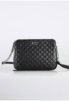 42a7f46ed8d Guess black Valeria Logo Quilted Crossbody Bag 1B7BDACA92423DGS_1