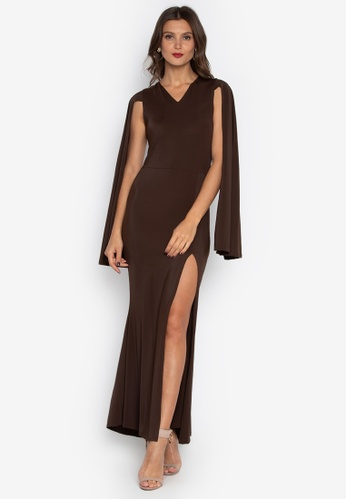 6f5fe62fd5 Shop Daria V-Neck Cape Gown With Side Slit Online on ZALORA Philippines