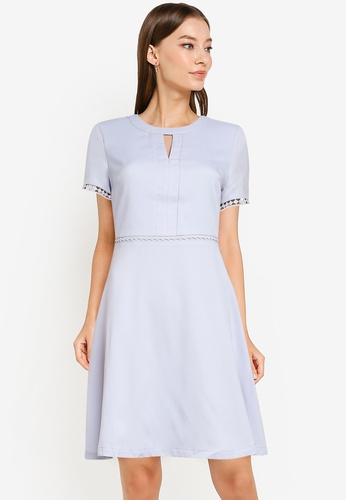 ZALORA WORK blue Fit And Flare Dress With Trims 8A28DAA2A402C6GS_1