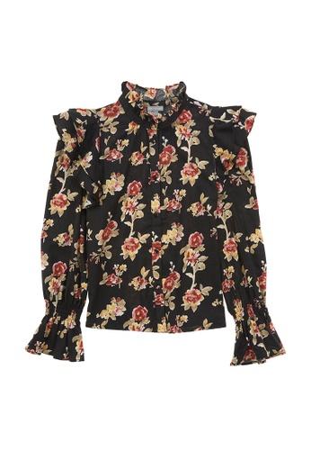 6IXTY8IGHT 多色 玫瑰印花荷叶边维多利亚风女衬衫 TP07958 382E6AAC96EE96GS_1