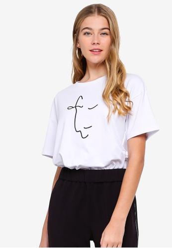 ESPRIT white Graphic Short Sleeve T-Shirt 2A70FAAE1D9C3BGS_1