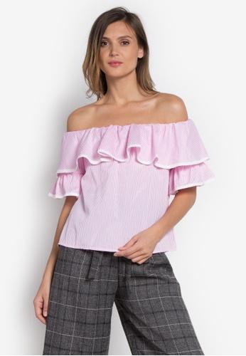 b81c91f2f30037 Shop Somura Offshoulder Pink Top Online on ZALORA Philippines