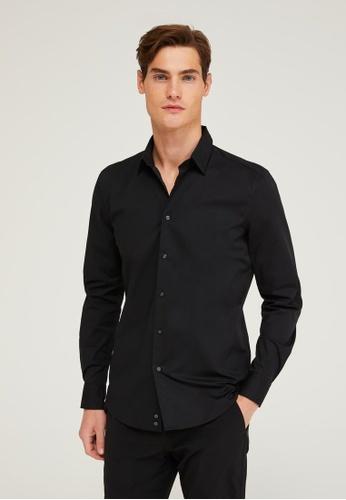 Sisley black Formal Slim Fit Shirt 9F63FAABE5C968GS_1