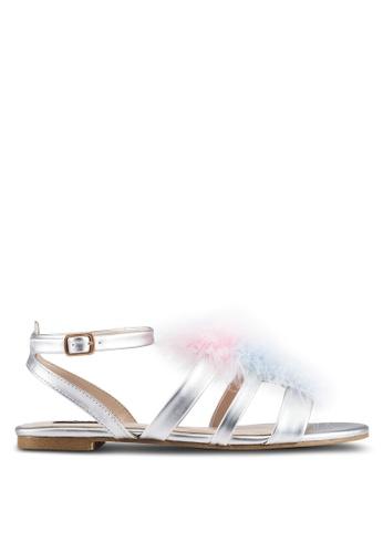 ZALORA silver Textured Multi Straps Sandals FCBD7SH9B50E92GS_1