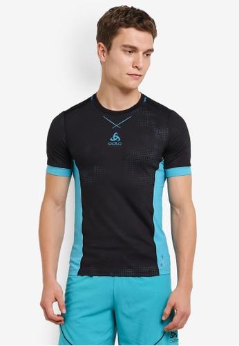 Odlo black Crew Neck Ceramicool Pro Print Short Sleeve T-Shirt OD608AA0S11LMY_1