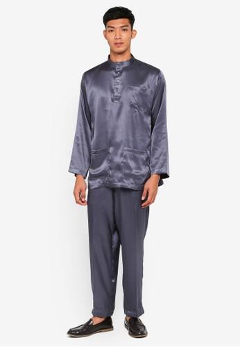 Gene Martino grey Traditional Baju Melayu 031E8AA2A44091GS_1