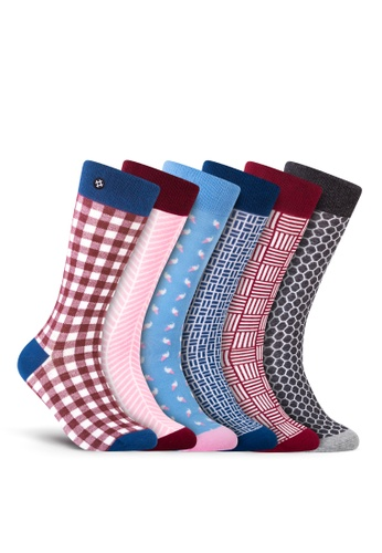 Sockdaily grey and red and pink and yellow and blue Vale 6 Pack Crew Socks 4F5AAAA0958E19GS_1