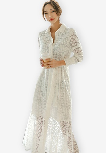 26daf4a0315 Sunnydaysweety white New V-neck Tie Lace One Piece Dress 57D86AA5EF0E9DGS_1