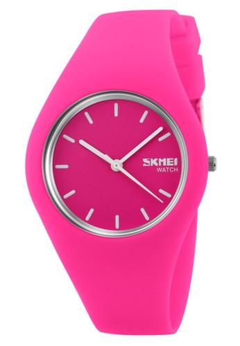 Digitec pink Skmei - Jam Tangan Wanita - Pink- Rubber Strap - 9068-G 83001AC2DC006BGS_1