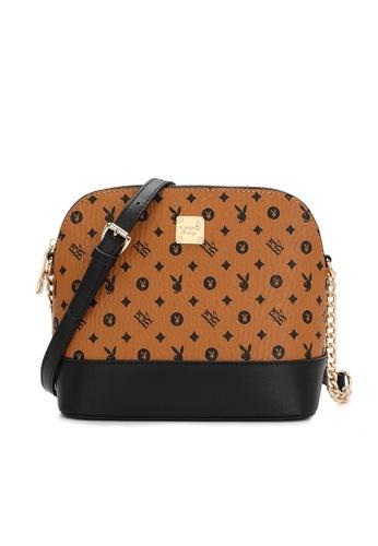 PLAYBOY BUNNY brown Logo Sling Bag D5C64AC1088C6EGS_1
