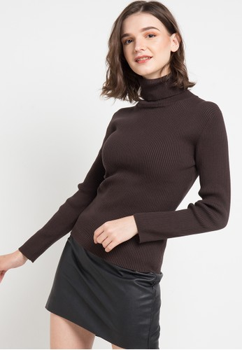 Noir Sur Blanc brown Ladies Turtleneck Long Sleeve 12D78AA2B25306GS_1