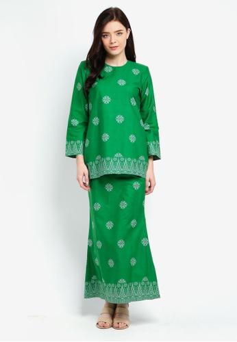 Cotton Modern Kurung With Songket Print (Tabur) from Kasih in Green