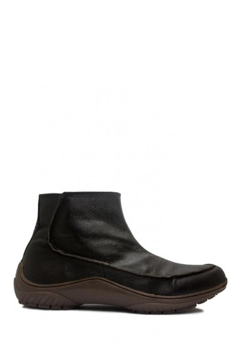 D-Island brown D-Island Shoes Zipper Slip On Rajut Genuine Leather Dark Brown DI594SH52EXVID_1