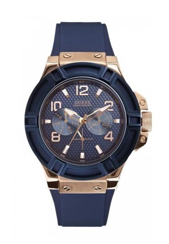 Guess Watch navy Guess Jam Tangan Pria - Blue Rosegold - Rubber - W0247G3? 4F94AAC909F825GS_1