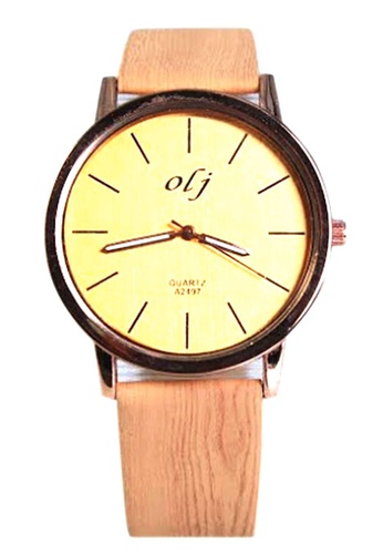 World of Watches beige OLJ Lauren Wood Women's Leather Strap Watch A2497 WO566AC83UGUPH_1