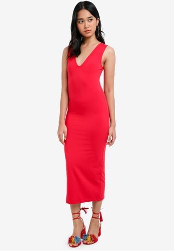 Miss Selfridge red Red Midi Bodycon Dress 26D25AA2317756GS_1
