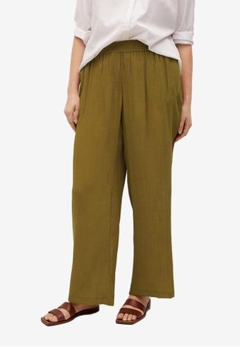 Violeta by MANGO green Plus Size Flowy Flared Trousers 1E5C6AAA59E83EGS_1