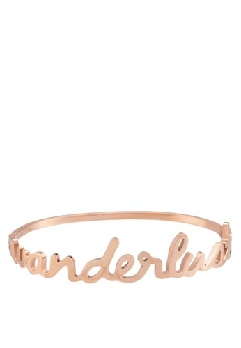 Wanderlust 品牌立esprit tw體文字金屬手鐲, 飾品配件, 飾品配件