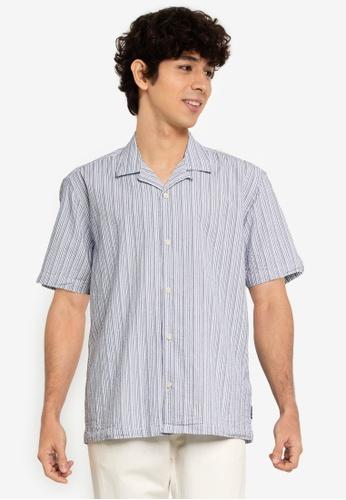 Ben Sherman blue Seersucker Co-Ord Shirt F7E4CAAD734F98GS_1