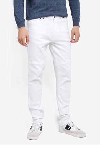 CR7 white Slim Straight Moto X Jeans CR532AA0SYI8MY_1