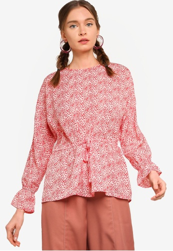 Lubna red Drawstring Puff Sleeves Blouse A04B9AA571052BGS_1